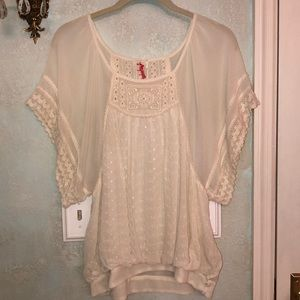 Free People cream embroidered shirt